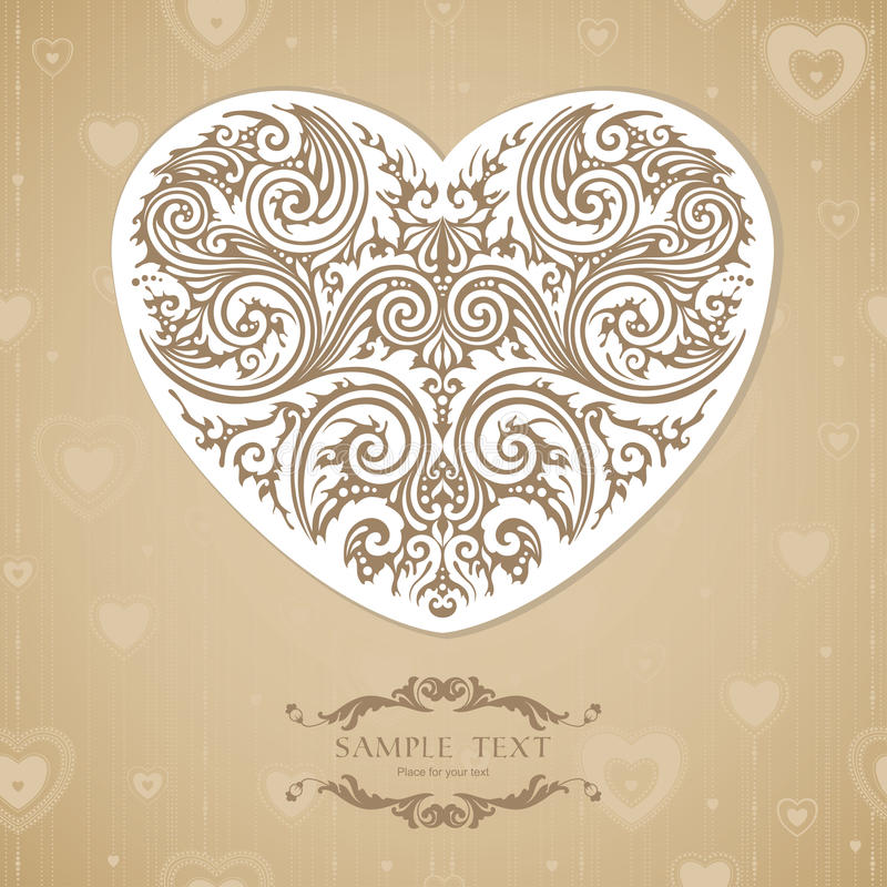 Vintage template with decorative heart stock illustration