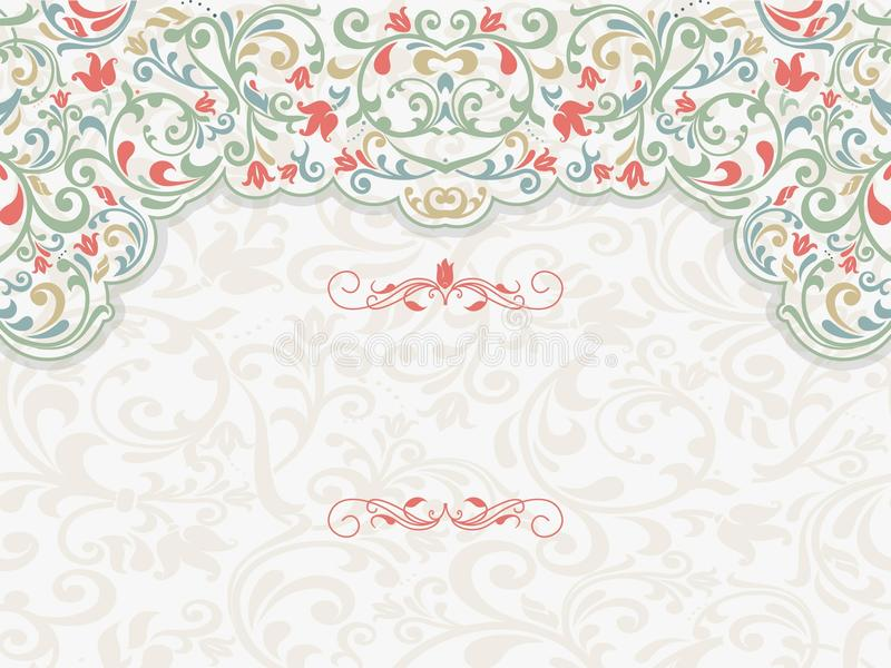 Vintage template with pattern and ornate borders. vector illustration