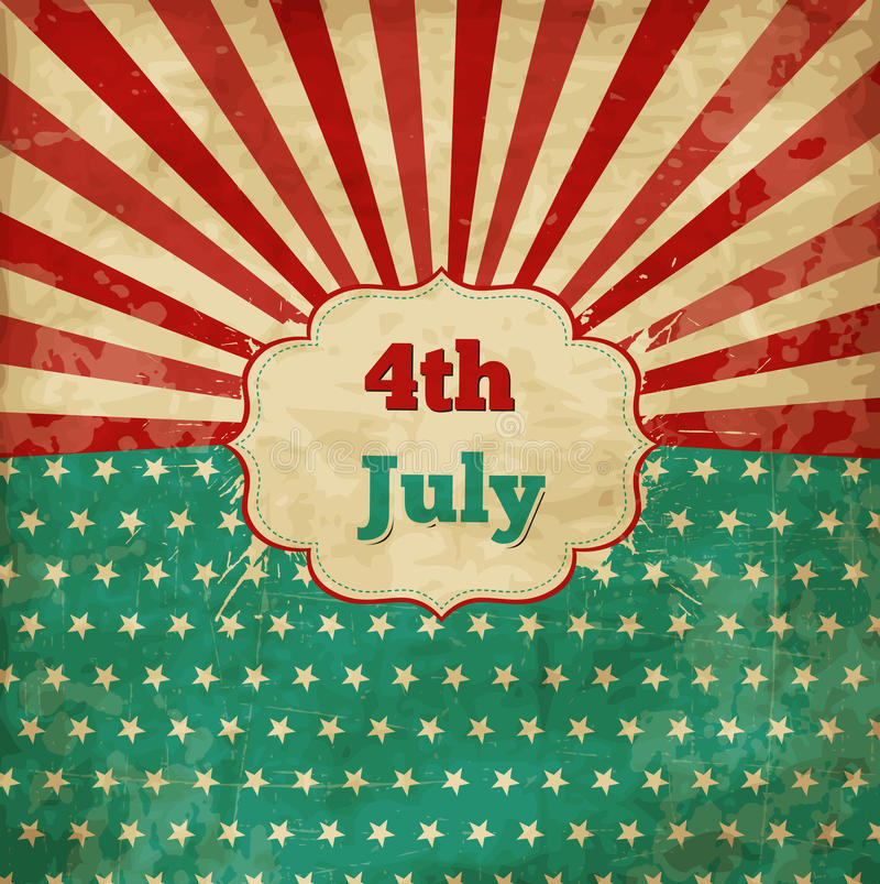 Vintage template for 4th of July stock illustration