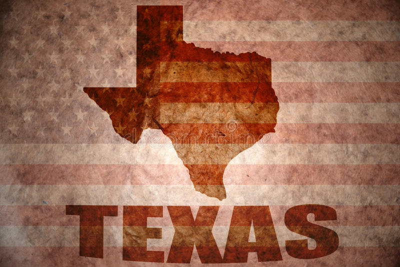 Vintage texas map. Texas map on a vintage american flag background stock image