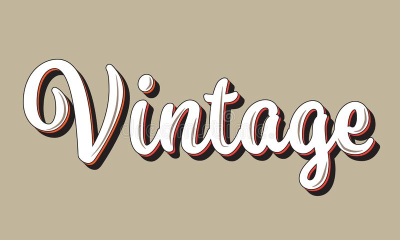Vintage text word. Typography style illustration in beige background stock illustration