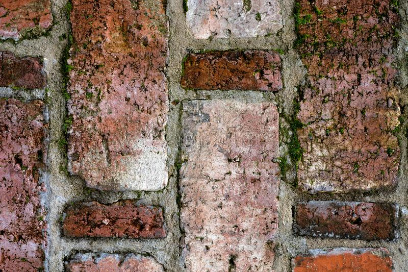 Vintage texture of old brickwork in close view royalty free stock photography