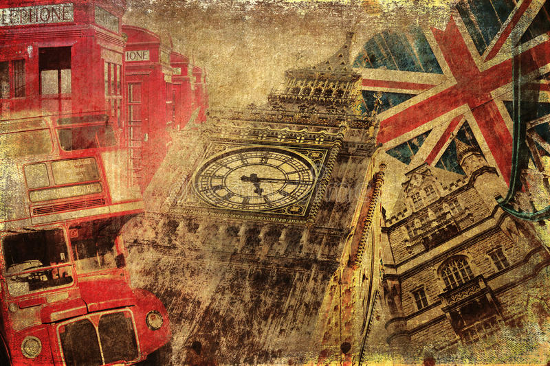 Vintage textured collage of London icons stock photos