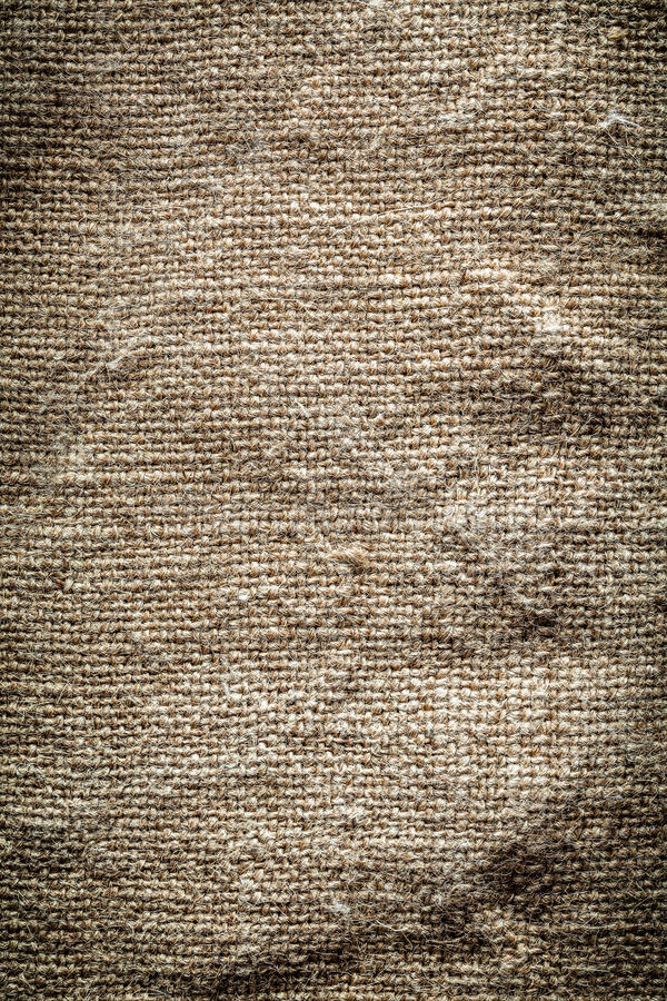 Vintage textured hessian background top view.  stock photos