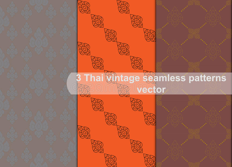 Vintage thai style seamless patterns vector abstract background stock illustration