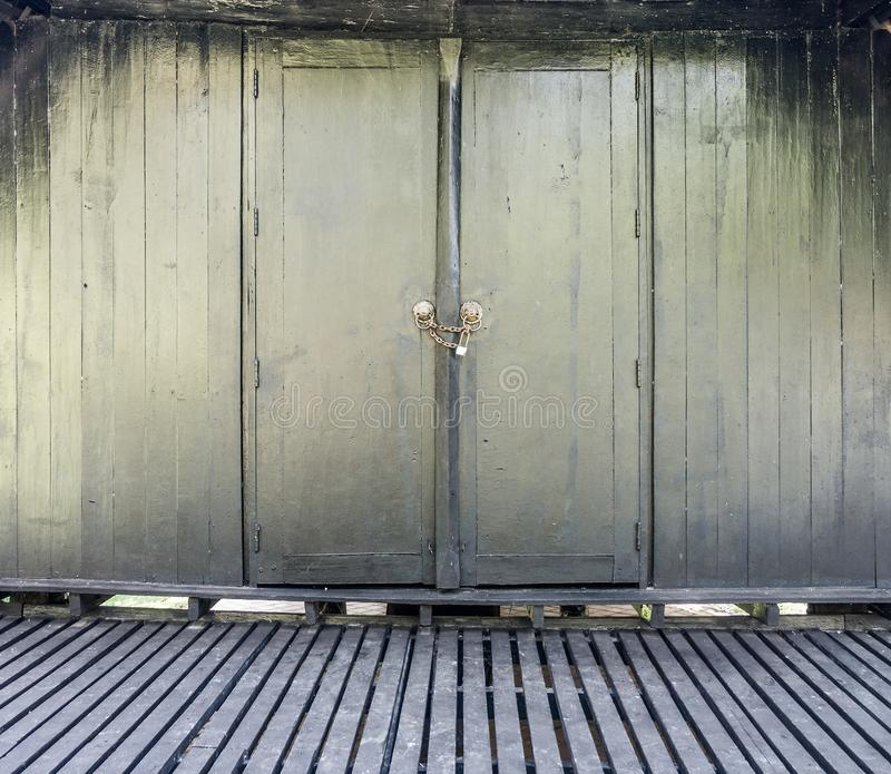 Download Vintage Thai Wooden Wall, Floor And Door With Lock Stock Image    Image Of