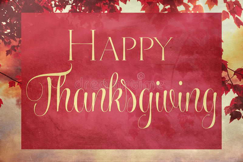 Vintage Thanksgiving. Autumn background with Happy Thanksgiving text