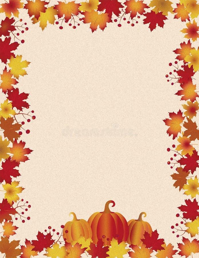 Vintage Thanksgiving-bladeren en pompoenen aan de grens stock illustratie