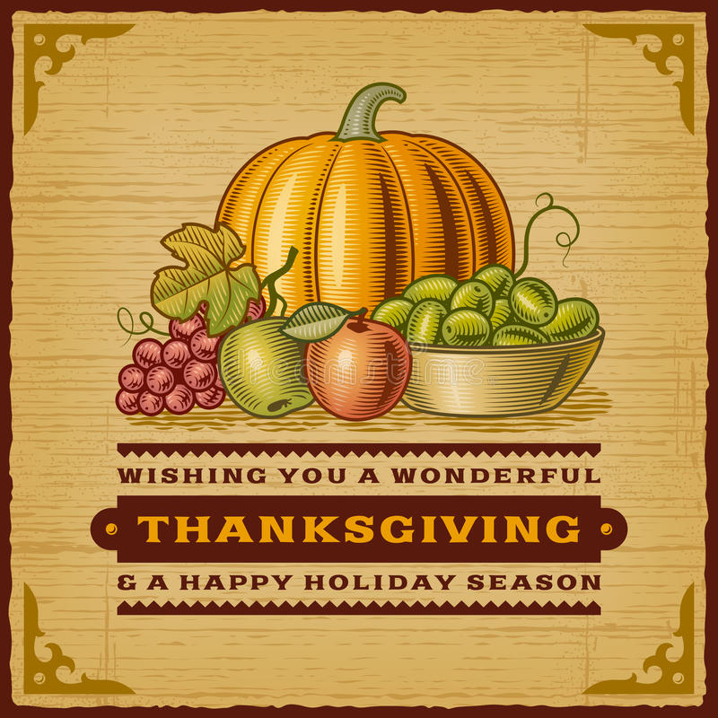 Vintage Thanksgiving Card. In woodcut style. EPS10 editable vector illustration with clipping mask