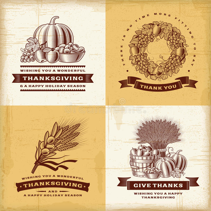 Vintage Thanksgiving labels set stock illustration