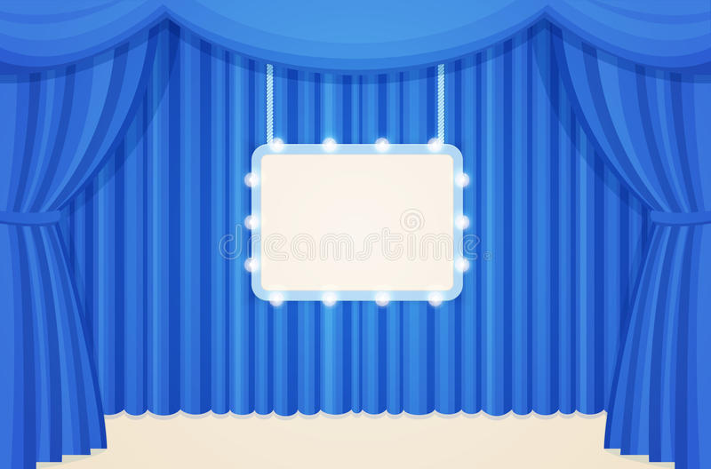 download vintage theater or cinema stage with blue curtains and marquee light bulbs board stock vector
