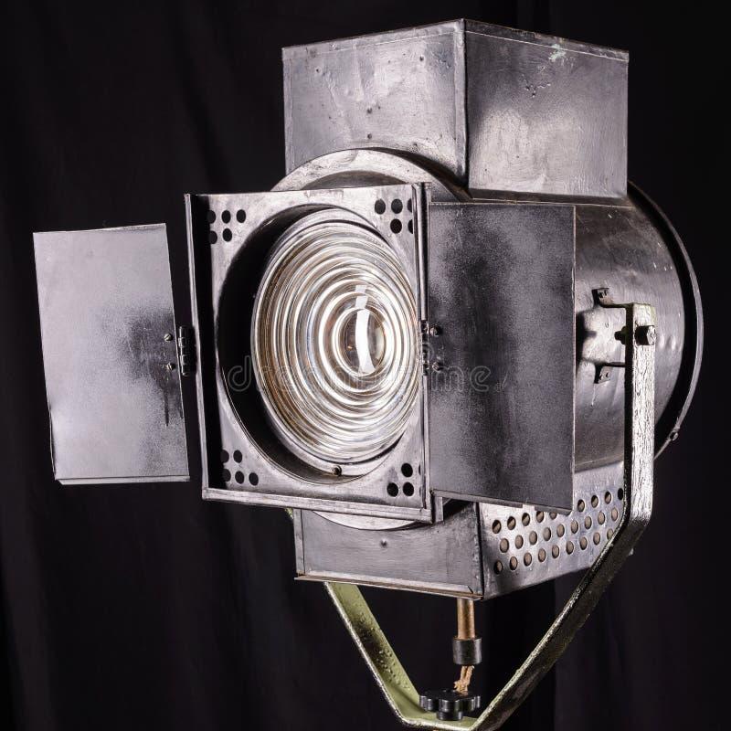 Vintage theater spot light on black background stock photos