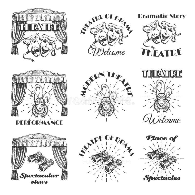 Vintage theatre label, emblem, badge and logo set, vector illustration vector illustration
