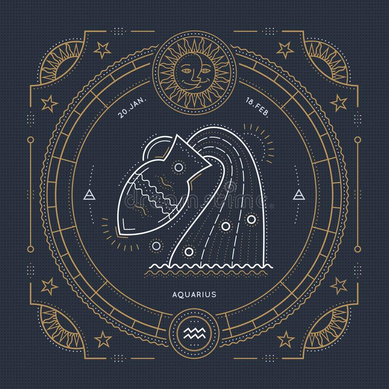 Vintage thin line Aquarius zodiac sign label. Retro vector astrological symbol, mystic, sacred geometry element, emblem vector illustration