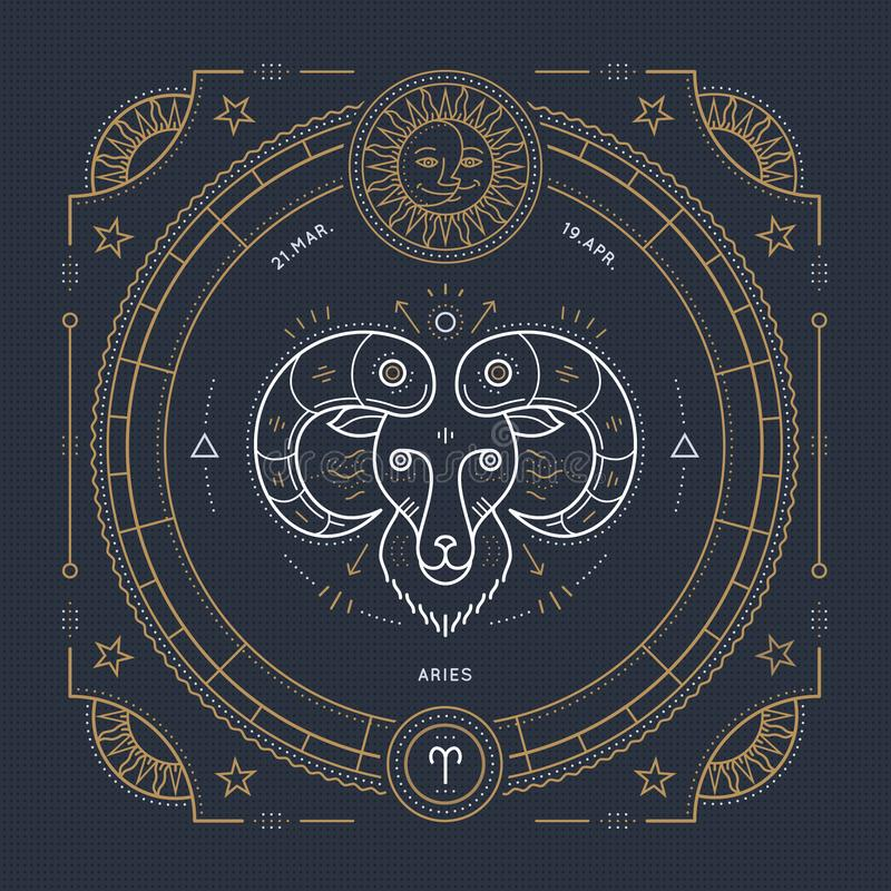 Vintage thin line Aries zodiac sign label. Retro vector astrological symbol vector illustration