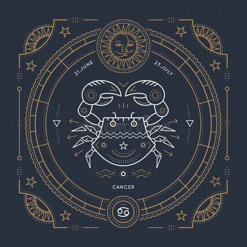 Vintage thin line Cancer zodiac sign label. Retro vector astrological symbol, mystic, sacred geometry element, emblem vector illustration