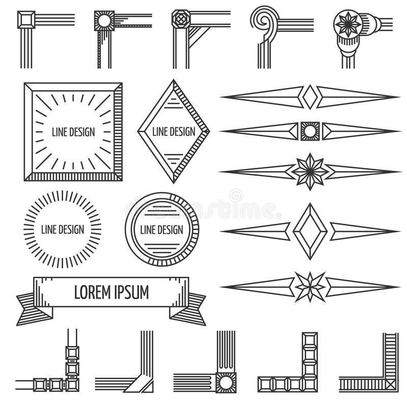 Vintage thin line geometric vector shapes frames corners royalty free illustration