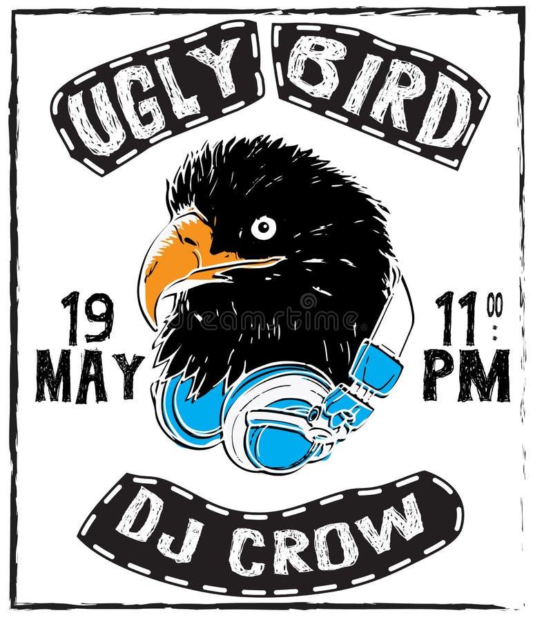 Vintage thin line raven label. Crow symbol. Retro vector design vector illustration