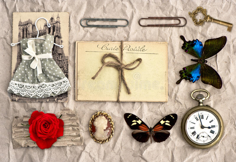 Vintage things. nostalgic scrap booking background royalty free stock image