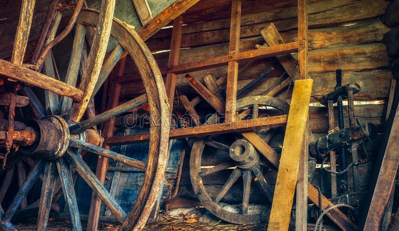 Vintage things in the old country barn. Close view stock photo
