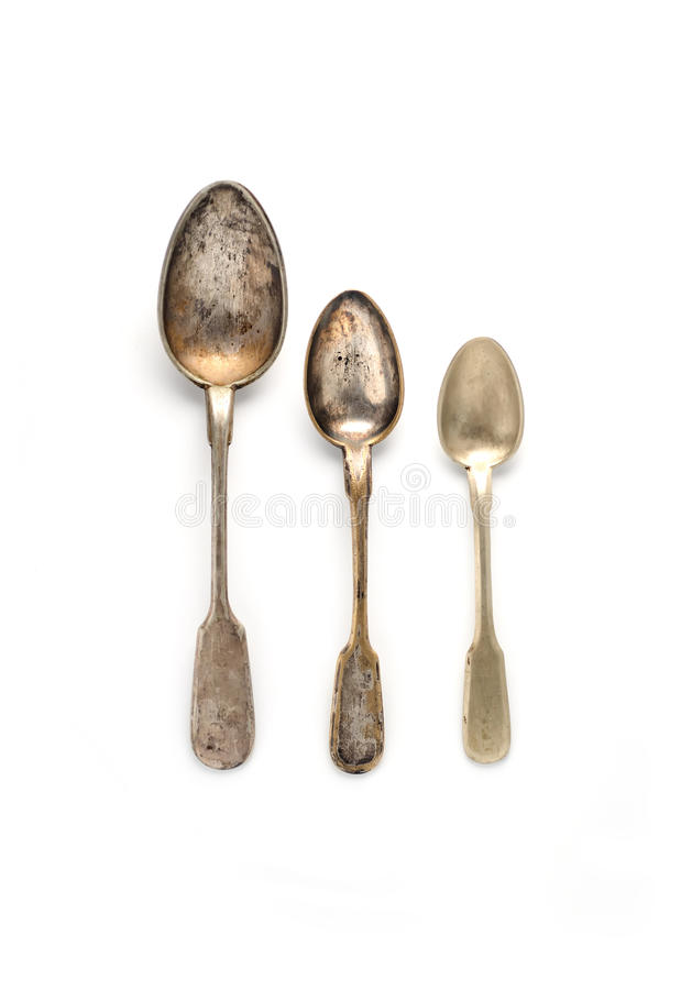 Free Vintage Three Spoons Of Different Sizes On A White Background Royalty Free Stock Photography - 70128837