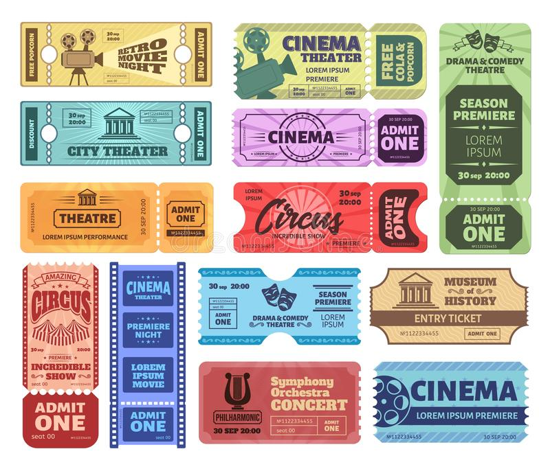 Vintage tickets. Admit one ticket on circus show, cinema movie night admission coupon and theatre tickets vector set stock illustration