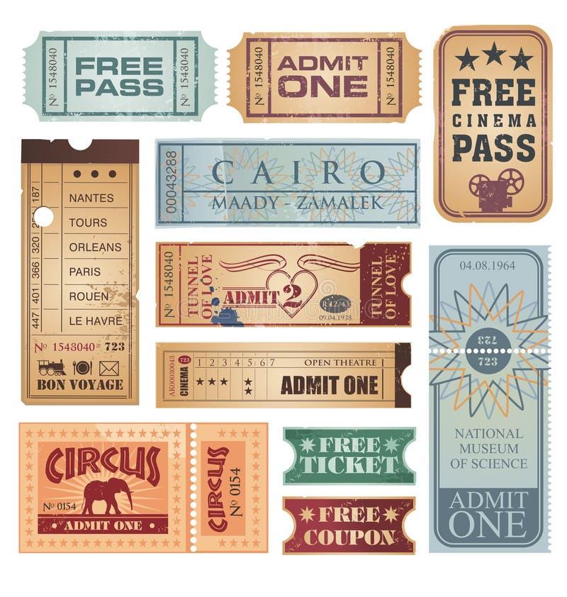 Vintage tickets vector set stock illustration