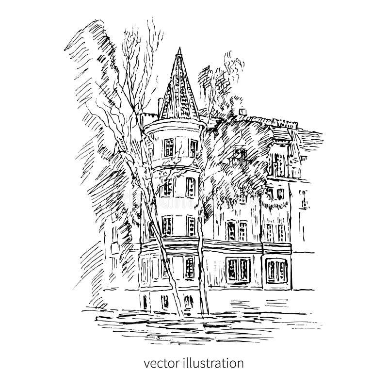Vintage tile old european house, vector graphic illustration, engraving outline sketch mansion, Rural landscape. Historical building line art isolated stock illustration