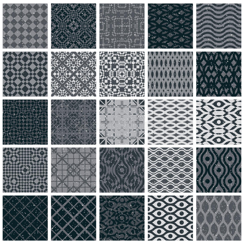 Vintage tiles seamless patterns, 25 monochrome designs vector se stock illustration