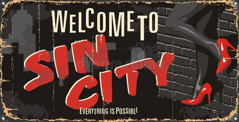 Vintage tin city sign. Underground passion poster. Sin city mark. royalty free illustration