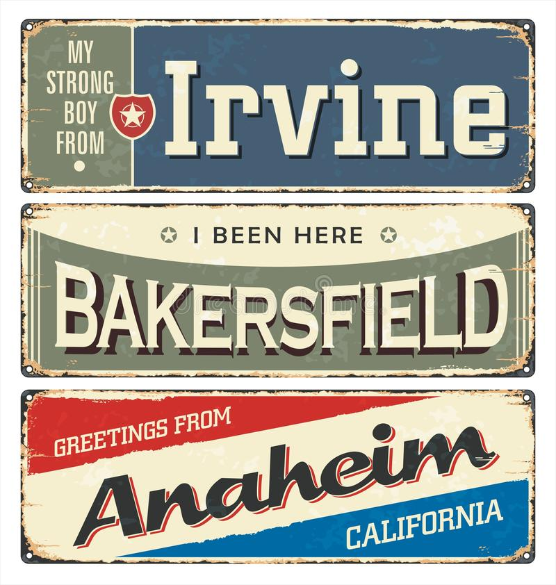 Vintage tin sign collection with USA cities. Dixie. Vintage tin sign collection with USA cities. South. Irvine. Chicago. Retro souvenirs or postcard templates stock illustration