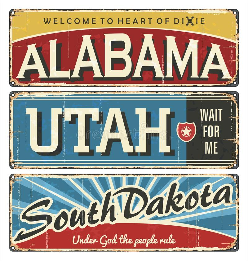 Vintage tin sign collection with USA state. Alabama. Utah. South Dakota. Retro souvenirs or postcard templates on rust. Background. Dixie. South royalty free illustration