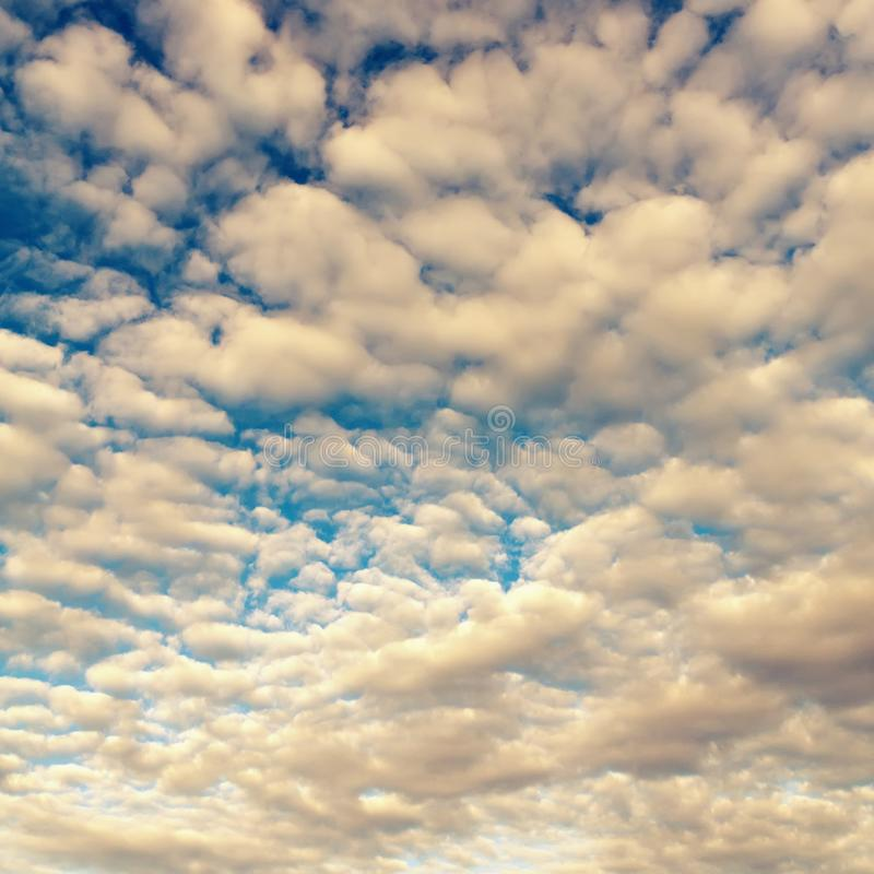 Vintage tinted sky background with fluffy clouds. stock image