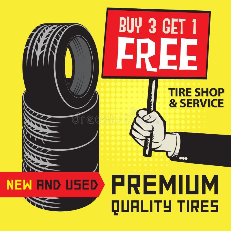 Free Vintage Tire Service Or Garage Poster Stock Images - 86874654