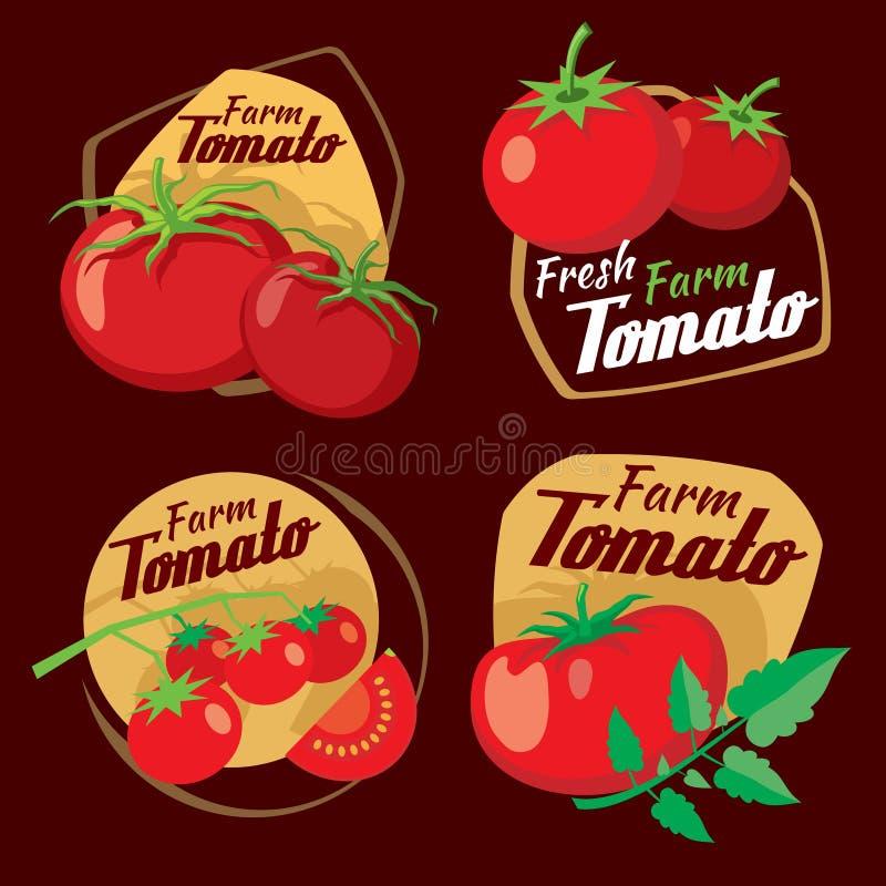 Vintage tomato vector labels, emblems and badges set royalty free illustration