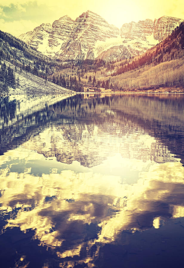 Vintage toned Maroon Bells at sunset, Aspen in Colorado, USA royalty free stock image