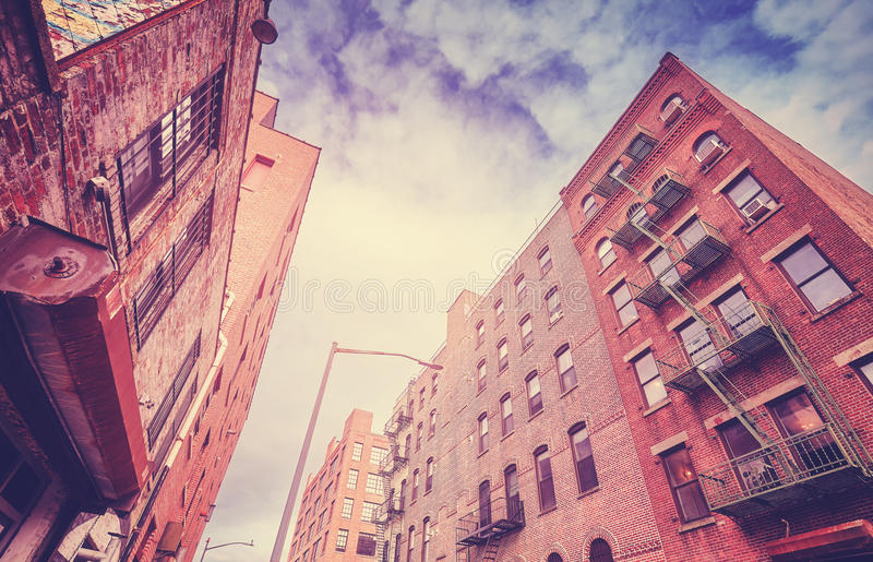 Vintage toned old buildings in Brooklyn Dumbo, New York. Vintage toned old buildings in Brooklyn Dumbo neighborhood, New York City, USA royalty free stock photos
