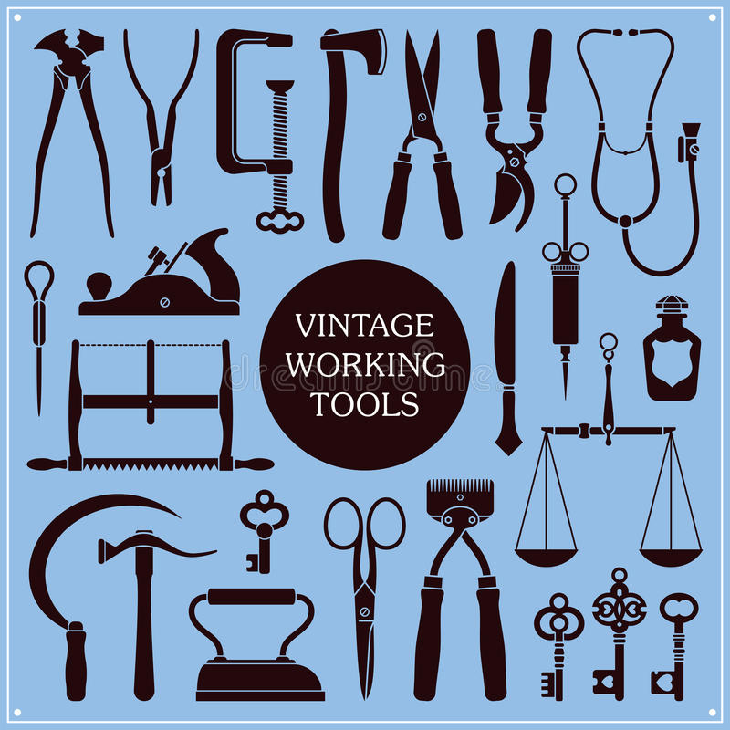 Vintage Tools And Instruments vector illustration