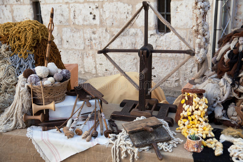 Download Vintage Tools And Natural Wool Stock Image - Image: 18429973