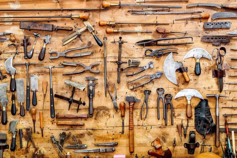 Old Vintage Tools At Workshop. Stock Image - Image of