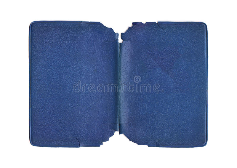 Vintage Torn Blue cover. Isolated image of a blue plastic torn book jacket stock photo