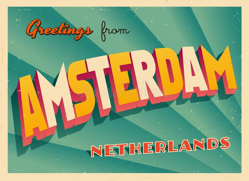 Vintage Touristic Greeting Card from Amsterdam. royalty free illustration