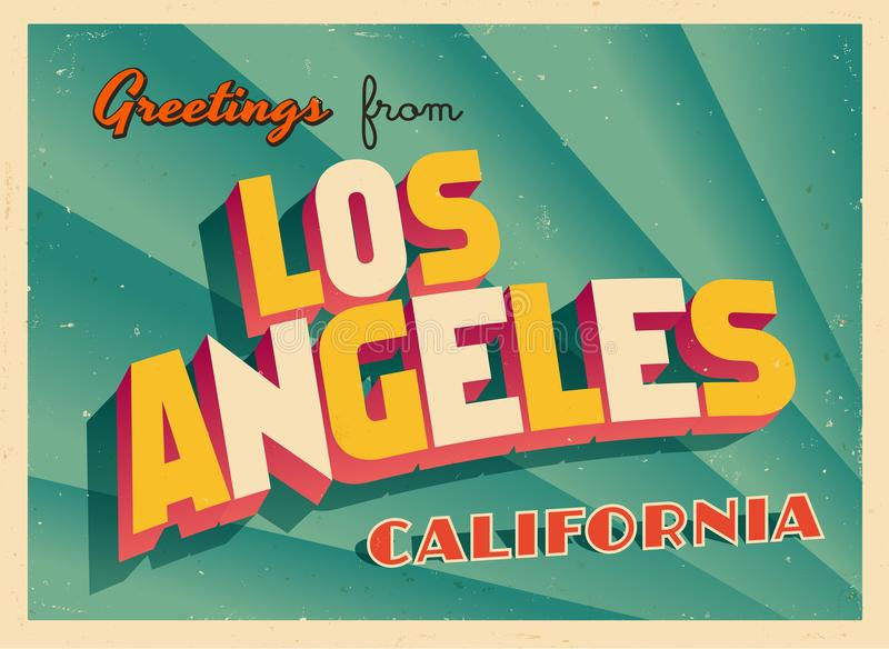 Vintage Touristic Greeting Card From Los Angeles, California. Vintage Touristic Greeting Card From Los Angeles, California - Vector EPS10. Grunge effects can be royalty free illustration