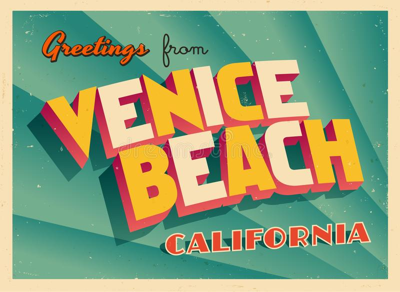Vintage Touristic Greeting Card From Venice Beach, California. vector illustration