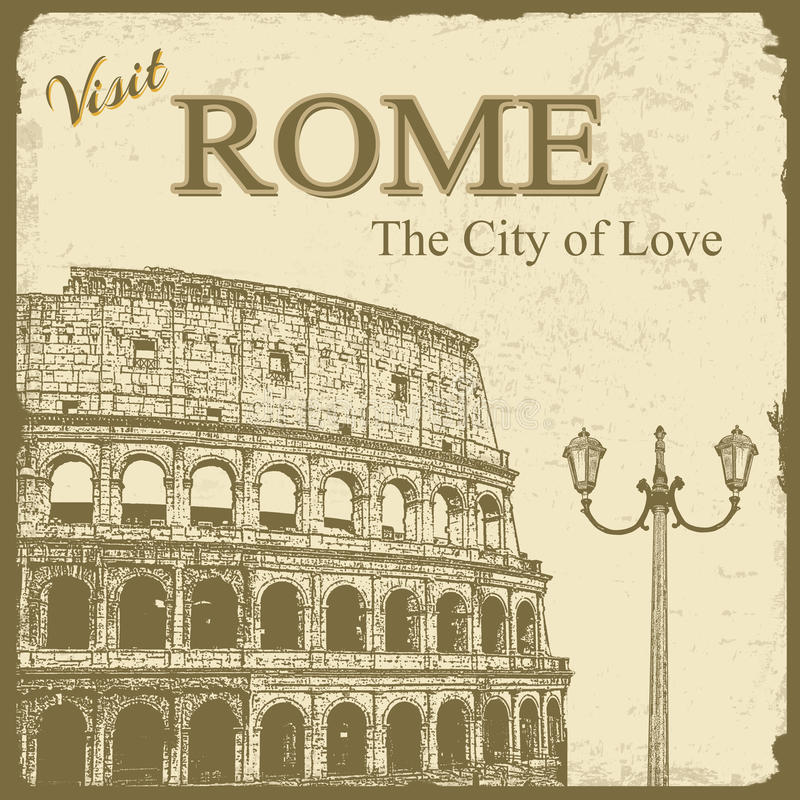 Vintage touristic poster - Rome vector illustration