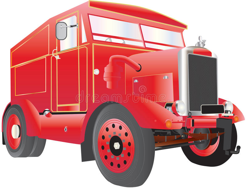 Vintage Tow Truck. A Heavy Duty Red and Gold Fairground Generator and Tow Truck isolated on white vector illustration