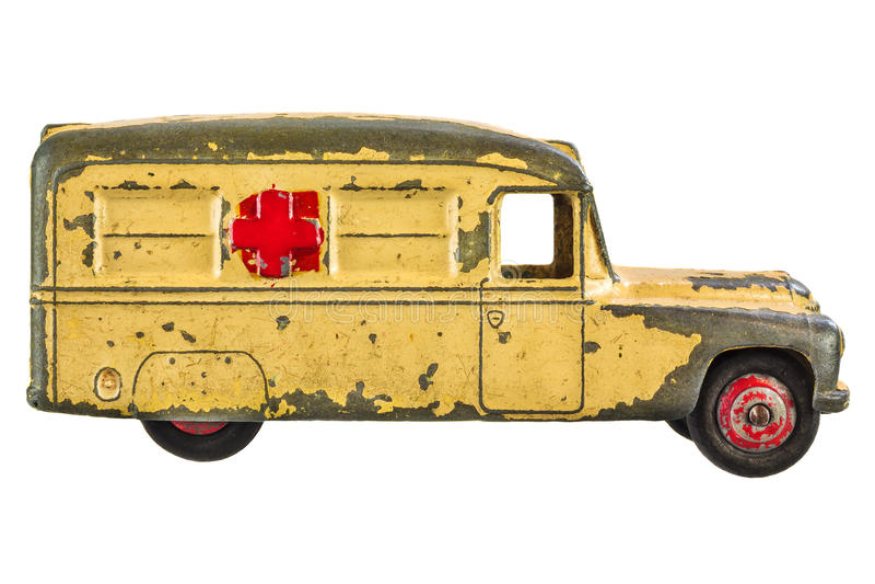 Vintage toy ambulance isolated on white stock photos