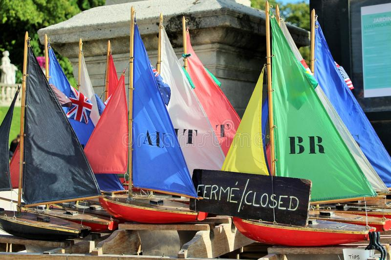Vintage Toy Boats in Luxembourg Gardens royalty free stock photo