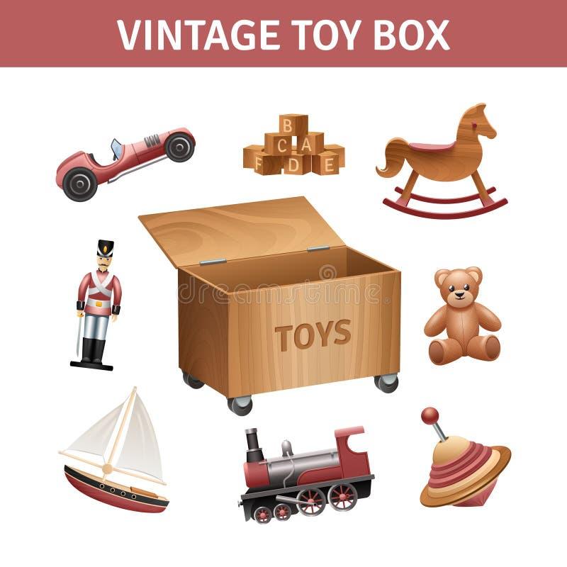 Vintage Toy Box Set stock illustration