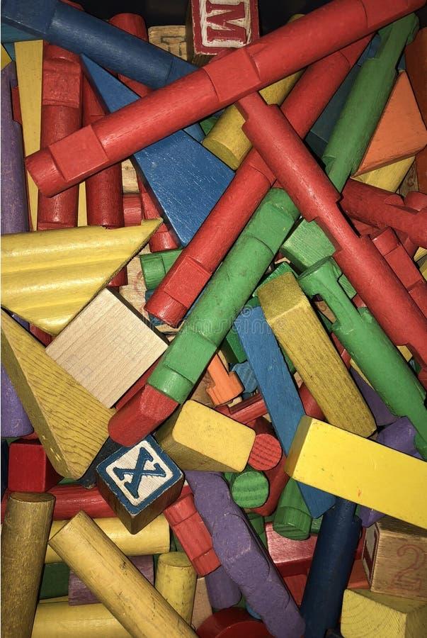 Vintage Toy Building Blocks colorido madeira foto de stock royalty free